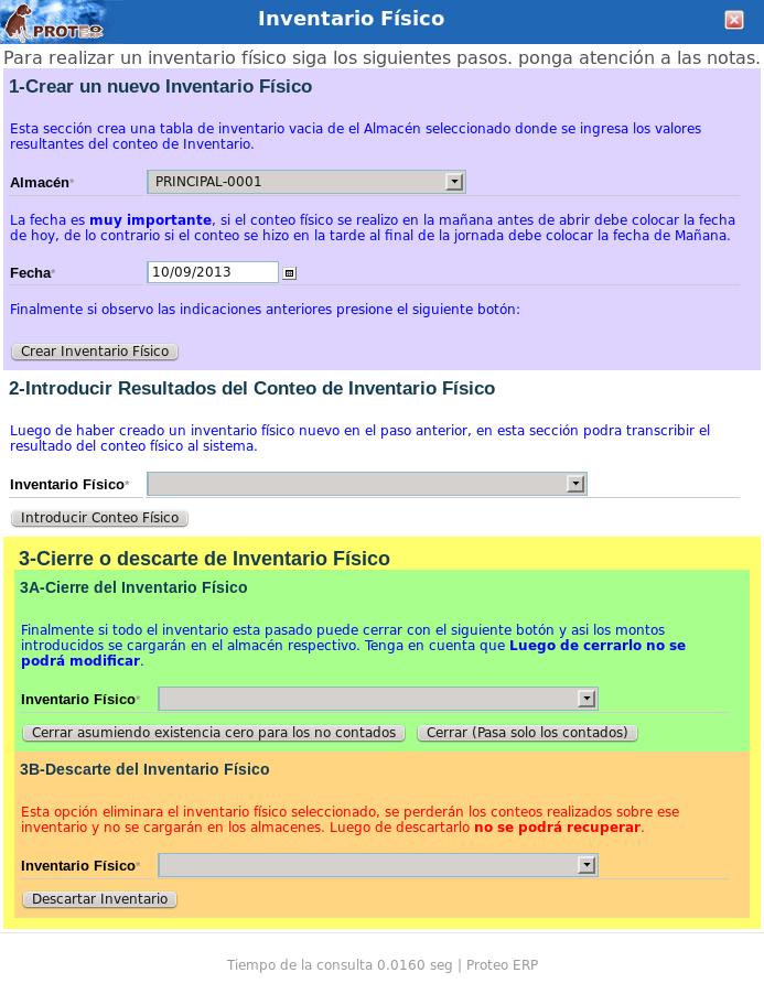 Inventario Físico | Proteo ERP